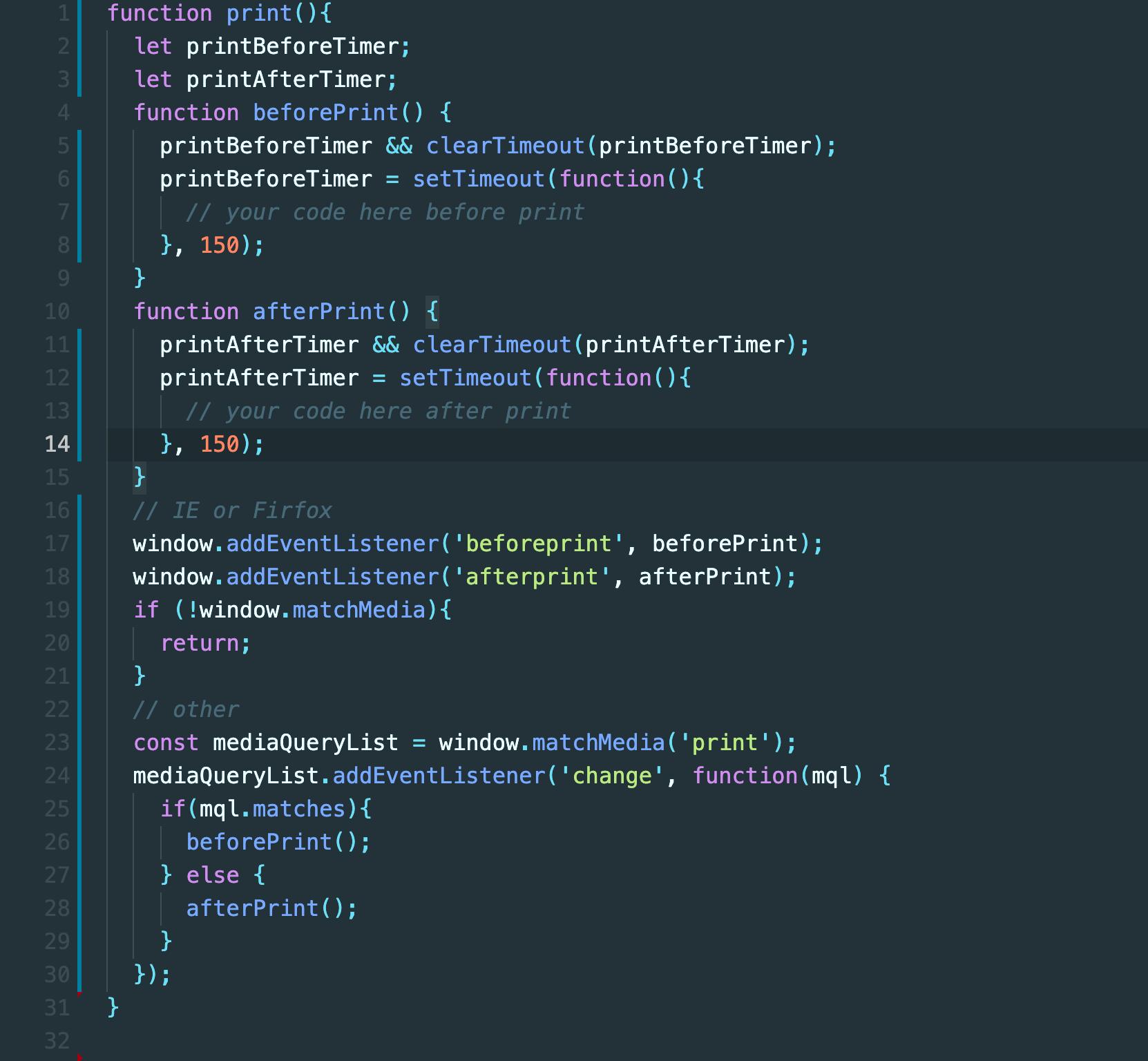 使用JavaScript检测打印请求